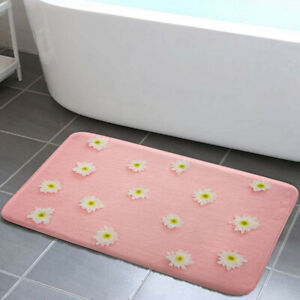 White Flowers on Pink Background Bathroom Rugs Bath Mats Mat Small Carpet