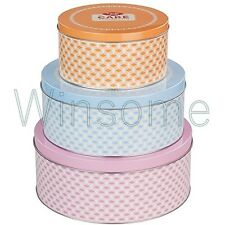 Set of 3 Round Cake Biscuit Cupcake Cookie Baking Sweets Tin Storage Box Retro