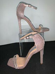 "Steve Madden Sandal 4"" Heels Pink Glitter Rhinestones Ankle Strap Size 7 NEW"