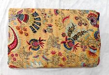 kantha Quilt King Print Beige Indian Cotton Handmade Bedspread Queen Gudari