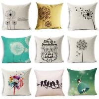 "Simple & Fresh Dandelion Linen Pillow Case Throw Cushion Cover Home Decor 18"""