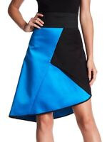 MILLY 161135 Women's Color Block Asymmetrical Skirt Black/Blue Sz. 0
