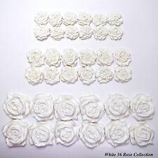 36 White Roses edible wedding cake cupcake decorations sugar flowers 25/30/45mm