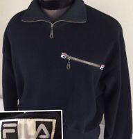 Vintage FILA Fleece Sweater Pullover 80's Ribbed Hip Hop Retro Sz S Black RARE