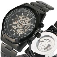 Luxury Mens Stainless Steel Case Skeleton Automatic Mechanical Wrist Watch