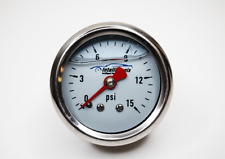 "0-15 PSI Fuel Pressure Gauge Chrome White 1.5"" Liquid filled, LIFETIME WARRANTY!"