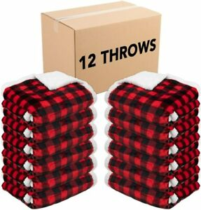 12 Pack of Buffalo Plaid Throw Blankets 50 x 70 Red & Black Soft Flannel Sherpa