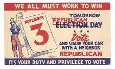 1942 UX27 Postal Card Portland Oregon, Advertising Republican Election Day Vote
