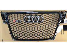 2009-2012 Audi A4 S4 B8 8T RS4 Style Honeycomb Black Grille Silver Ring