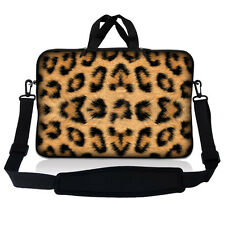 "14.1"" 14"" Laptop Sleeve Bag Case w Shoulder Strap and Handle Leopard Print"