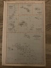 1883 POLYNESIA LARGE ORIGINAL ANTIQUE MAP BY GEORGE PHILIP 137 YEARS OLD