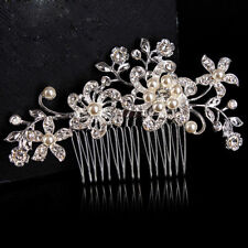 Crystal Rhinestone Wedding Flower Pearls Hair Clip Comb Bride For Women Hai D3H2