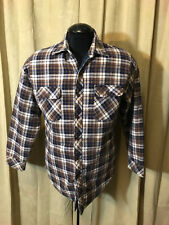 Mens Vintage 1970s Miiler Outerwear Shirt Blue Brown Plaids Size L L/S Cot/poly