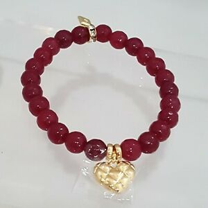 VERA BRADLY LOVE YOU MORE GOLD AND RED BEADED BRACELET MSP $38.00