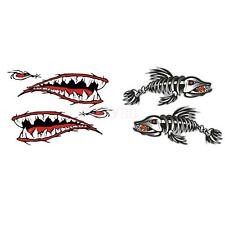 4x Kayak Decals Fish Skeleton Shark Mouth Canoe Fishing Boat Funny Stickers