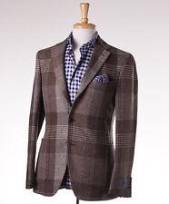 NWT $1595 BELVEST Brown Large Scale Check Tweed Wool Sport Coat 40 R (Eu 50)