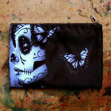 Cosmetic Bag Small Clutch Makeup Case B+W Catrina Sugar Skull Butterfly Tattoo
