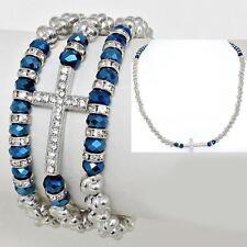 2 Way Bracelet Necklace Silver Blue Cross Crystal Stretch Alloy Horizontal