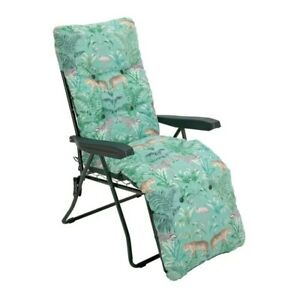 Padded Reclining Sun Lounger - Green: Next Day Delivery (Cushioned Chair Garden)