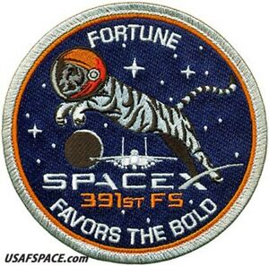 USAF 391ST FIGHTER SQ -F-15- SPACEX-FORTUNE FAVORS THE BOLD- ORIGINAL VEL PATCH