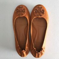 TORY BURCH Minnie Travel Ballet Flat Orange Leather Logo Size 6
