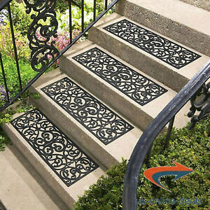 Rubber Stair Treads Stairs Decor Modern Design Matting M&W Vencier 4x/8x/12x Pcs