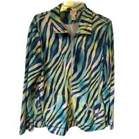 Zenergy By Chicos Womens Jacket Blue Green Tiger Zip Up Pockets Large New