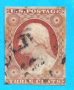 US #11a USED  3 cent WASHINGTON 1851-57 N609