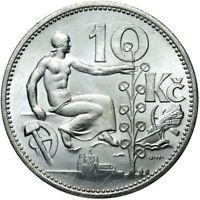 Münze Tschechoslowakei - 10 Korun 1932 - Silber - Stempelglanz UNC