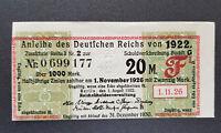 20 Mark Zinsschein Anleihe des Deutschen Reichs Kupon 1922 (8002)