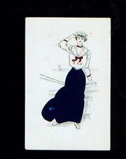 Early 1900's school girl in sailor uniform postcard - SHS
