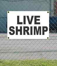2x3 LIVE SHRIMP Black & White Banner Sign NEW Discount Size & Price FREE SHIP
