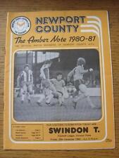 26/12/1980 Newport County V Swindon Town (piega, piega)