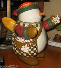 Debbie Mumm Snow Angel Village Ceramic Cookie Jar -Snowman with Wings -Sakura