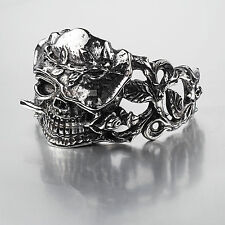 SILVER BRACELET BANGLE STAINLESS STEEL SKULL WESTERN COWBOY HAT ROSE CUFF