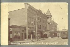 1913 WESTFIELD NEW YORK - Post Office - Fireman's Hall - Barber Shop - RPPC