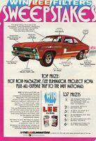 1972 Lee Eliminator Hot Rod Magazine Project Nova Sweepstakes Print Ad