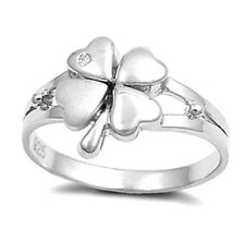 Lucky Four-Leaf Clover Ring with CZ Sterling Silver Rhodium Plated Size 8