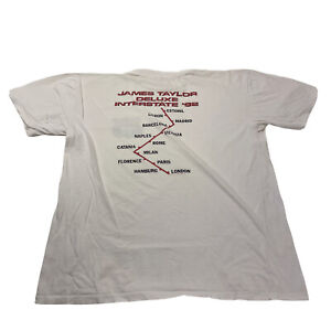 Vintage 90s James Taylor Deluxe Interstate World Tour T-Shirt White Mens Large