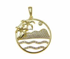 YELLOW GOLD PLATED 925 SILVER HAWAIIAN MOUNTAIN OCEAN WAVE PALM TREE PENDANT CZ