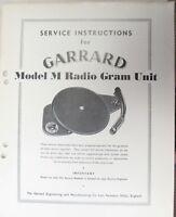 SERVICE MANUAL FOR GARRARD MODEL M RADIO GRAM UNIT TURNTABLE ORIGINAL 28 PAGES