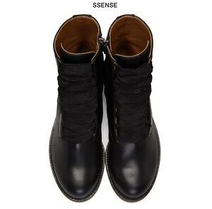 Chloe Black Leather Combat Lace Up Boots Sz 40