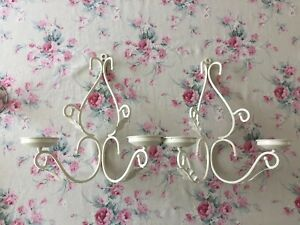 BEAUTIFUL 2 pc Set DOUBLE CANDLE Iron WALL SCONCES Shabby COTTAGE Chic FARMHOUSE