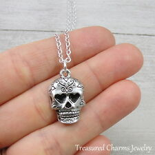Silver Sugar Skull Charm Necklace - Mexican Day of the Dead Candy Skull Jewelry