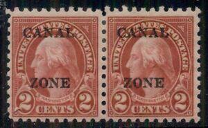 CANAL ZONE #97 2¢ carmine, perf. 10, Pair, og, LH, VF, Scott $90.00