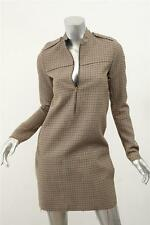 CELINE Beige+Brown PHOEBE PHILO COLLECTION Houndstooth Shift Dress Pockets 36/4
