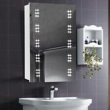 White Led Demister Illuminated Bathroom Cabinet Mirror Clock with Shaver Socket