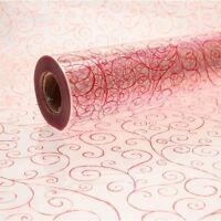 Red Scroll Cellophane Swirl Roll Gift Hamper Clear Film Florist Wrap 1m - 100m
