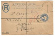 1900 Great Britain Registered PSE to Montreal Canada - Square Circle Cxl. Faulty