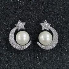 925 STERLING SILVER WHITE PEARL & CUBIC ZIRCONIA STAR & MOON STUD EARRINGS